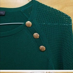 NWT Green sweater with gold buttons by The Limited